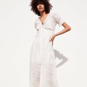 Zara White Eyelet Lace Maxi Dress Romantic Puff XS